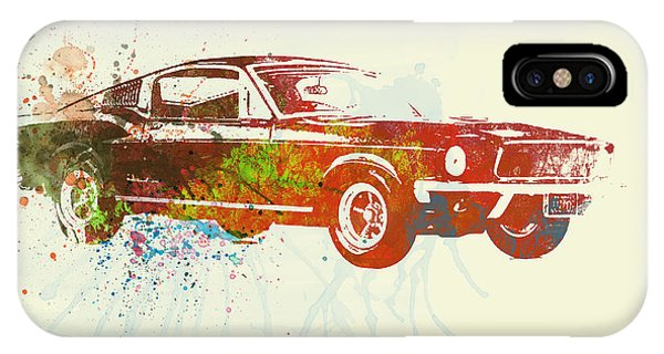 Watercolors iPhone X Case - Ford Mustang Watercolor by Naxart Studio