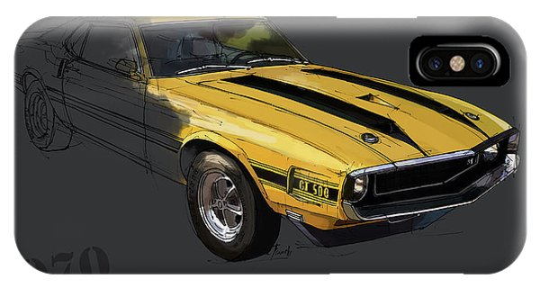 Arte iPhone Case - Ford Shelby Gt500 Fastback, Yellow And Black Original Art Print by Drawspots Illustrations
