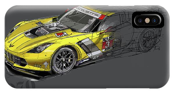 Arte iPhone Case - Ford Shelby Gt500 Fastback, Yellow And Black Sketch by Drawspots Illustrations
