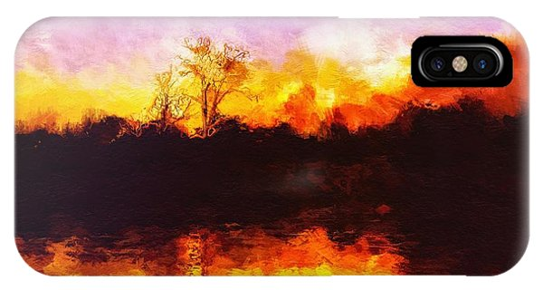 IPhone Case featuring the painting Forest Fire by Mark Taylor