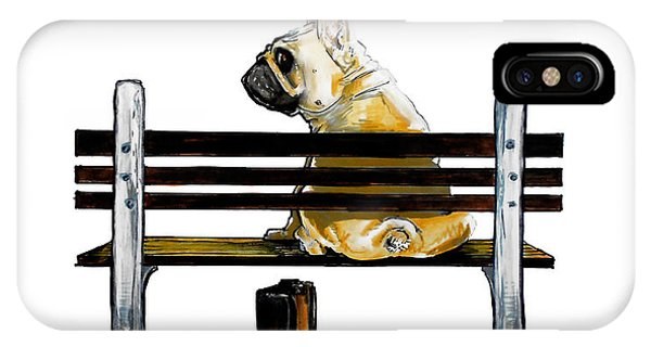 Forest Gump French Bulldog Caricature Art Print IPhone Case
