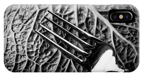 Organic Abstraction iPhone Case - Fork And Cabbage Leaf by Garry Gay