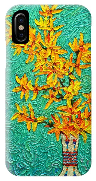 Forsythia Vibration Modern Impressionist Flower Art Palette Knife Oil Painting By Ana Maria Edulescu IPhone Case