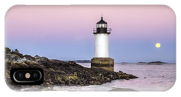 Fort Pickering Lighthouse, Harvest Supermoon, Salem, Ma IPhone Case