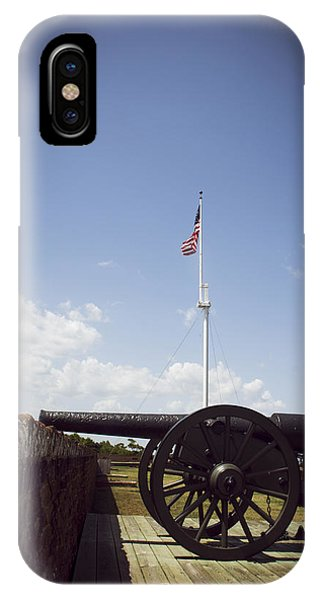 Fort Pulaski Cannon And Flag IPhone Case