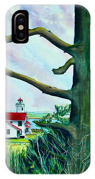 Port Townsend iPhone Case - Fort Worden Lighthouse With Tree by Stephen Abbott