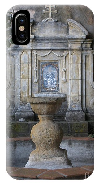 Fountain At Mission Carmel IPhone Case