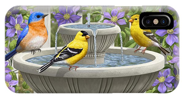 Fountain Festivities - Birds And Birdbath Painting IPhone Case