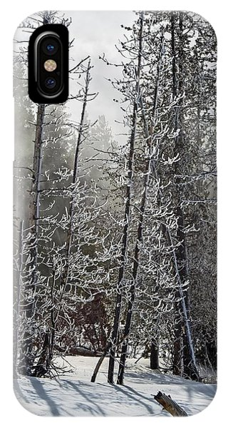Fountain Paint Pots Shrouded In Snow And Ice IPhone Case