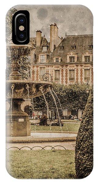 Paris, France - Fountain, Place Des Vosges IPhone Case