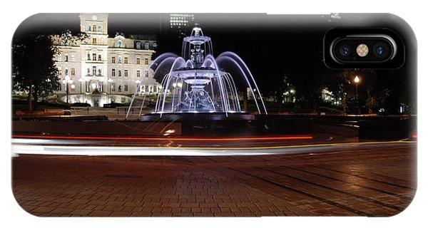 Fountaine De Tourny And Quebec Parliament IPhone Case