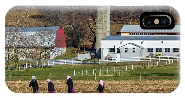 Four Amish Women In Field IPhone Case