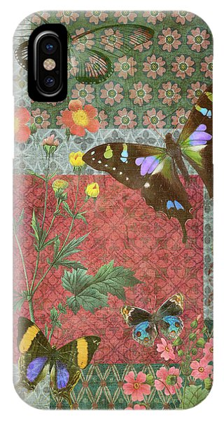 Colorful Flowers iPhone Case - Four Butterfly Patch Green by JQ Licensing