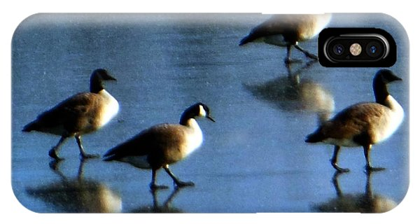 Four Geese Walking On Ice IPhone Case