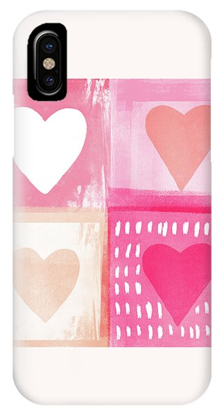 Pink iPhone Case - Four Hearts- Art By Linda Woods by Linda Woods