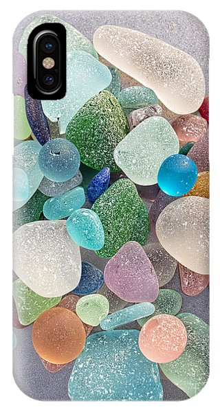 Four Marbles And A Rainbow Of Beach Glass IPhone Case