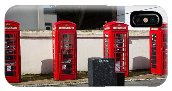 Antiquated iPhone Case - Four Phone Booths In London by Inge Johnsson
