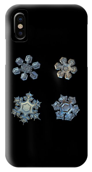 Four Snowflakes On Black 2 IPhone Case
