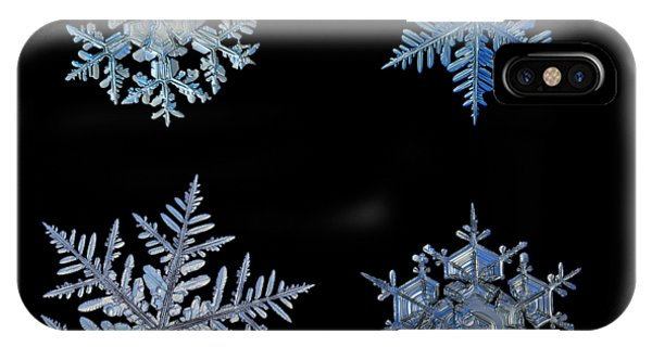 Four Snowflakes On Black Background IPhone Case