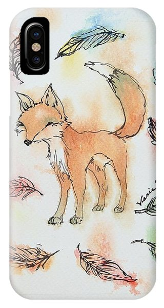 Fall iPhone Case - Fox And Feathers by Venie Tee