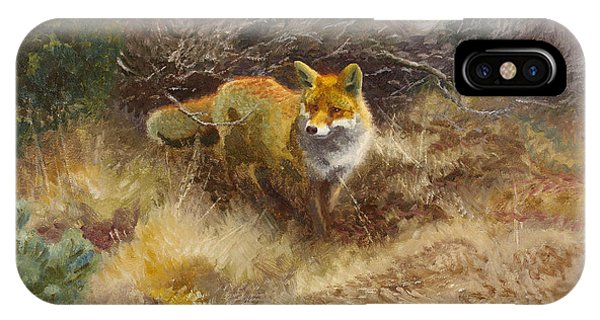 Swedish Painters iPhone Case - Fox And Landscape by Bruno Liljefors