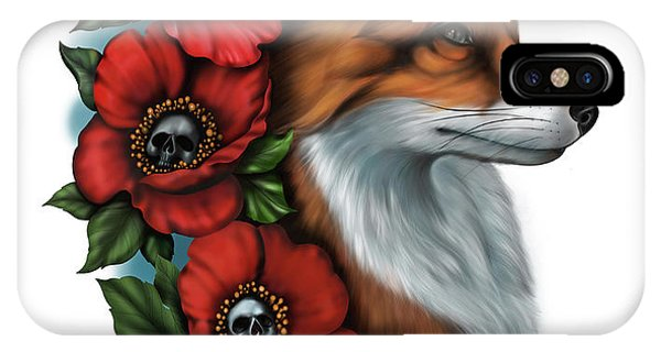 Fox And Poppies IPhone Case