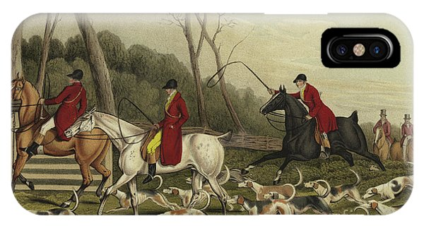 Horseman iPhone Case - Fox Hunting Going Into Cover by Henry Thomas Alken