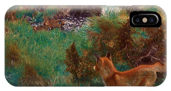 Swedish Painters iPhone Case - Fox Stalking Wild Ducks by Bruno Liljefors