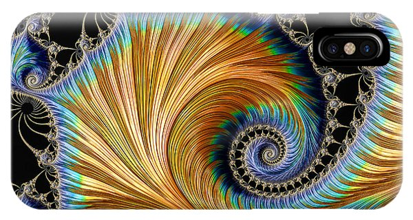 Fractal Art - Blue And Gold IPhone Case