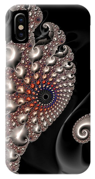 IPhone Case featuring the digital art Fractal Contact - Silver Copper Black by Matthias Hauser