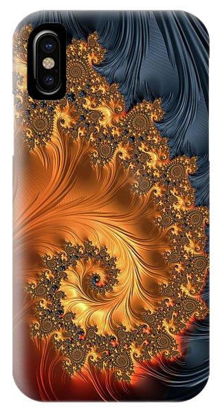 IPhone Case featuring the digital art Fractal Spiral Orange Golden Black by Matthias Hauser