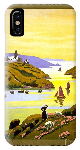 France Bretagne Vintage Travel Poster Restored IPhone Case