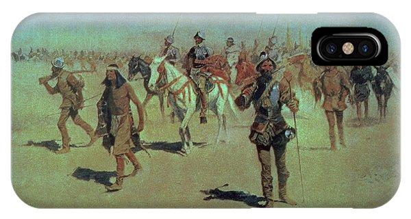 Coronado iPhone Case - Francisco Vasquez De Coronado Making His Way Across New Mexico by Frederic Remington