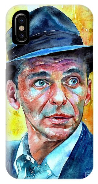 Frank Sinatra iPhone Case - Frank Sinatra In Blue Fedora by Suzann's Art