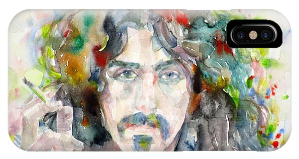 Frank Zappa iPhone Case - Frank Zappa - Watercolor Portrait.8 by Fabrizio Cassetta