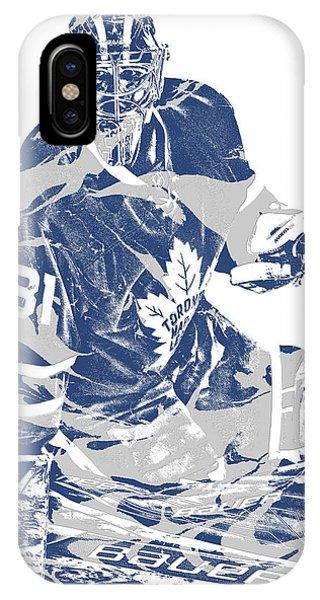 Maple Leaf Art iPhone Case - Frederik Andersen Toronto Maple Leafs Pixel Art 1 by Joe Hamilton