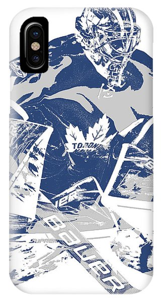 Winter iPhone Case - Frederik Andersen Toronto Maple Leafs Pixel Art 2 by Joe Hamilton