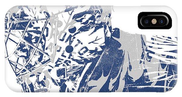 Maple Leaf Art iPhone Case - Frederik Andersen Toronto Maple Leafs Pixel Art 3 by Joe Hamilton