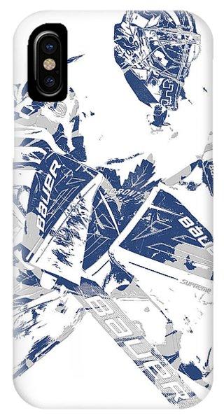 Maple Leaf Art iPhone Case - Frederik Andersen Toronto Maple Leafs Pixel Art 4 by Joe Hamilton