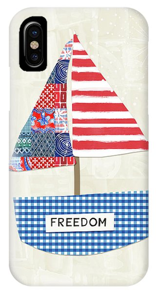 Election iPhone Case - Freedom Boat- Art By Linda Woods by Linda Woods