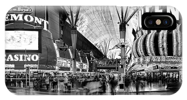 American Cars iPhone Case - Fremont Street Casinos Bw by Az Jackson