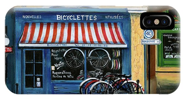 Paris Metro iPhone Case - French Bicycle Shop by Marilyn Dunlap