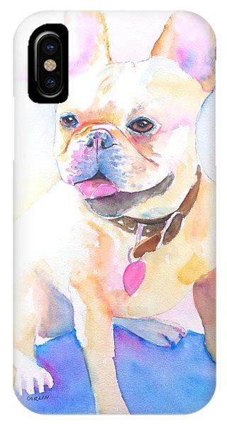 Watercolor Pet Portraits iPhone Case - French Bulldog Watercolor by Carlin Blahnik CarlinArtWatercolor