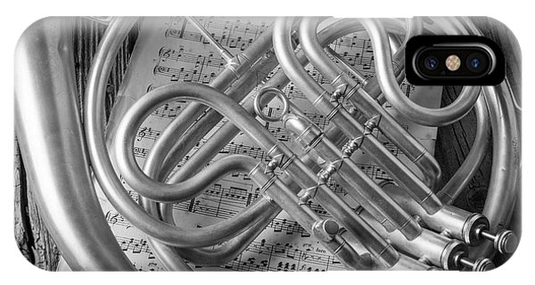 French Horn In Black And White IPhone Case