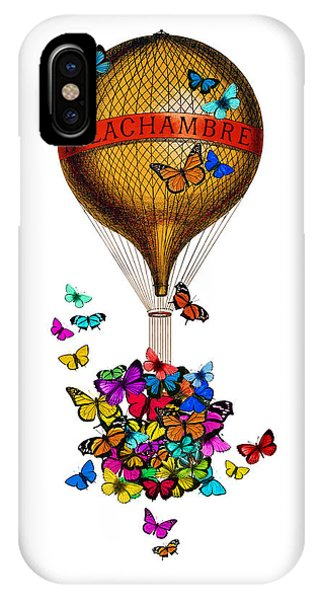 Celebration iPhone Case - French Hot Air Balloon With Rainbow Butterflies Basket by Madame Memento