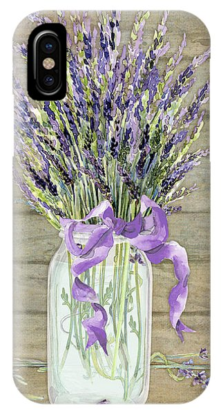French Lavender Rustic Country Mason Jar Bouquet On Wooden Fence IPhone Case