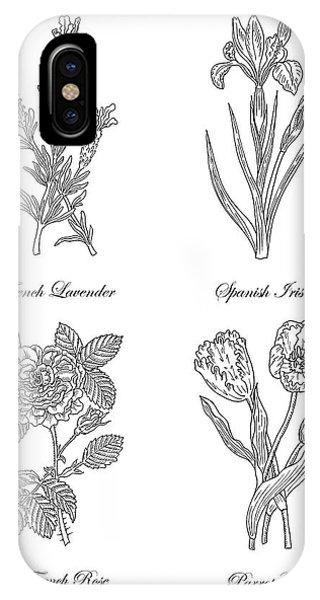 Lavender iPhone Case - French Lavender Spanish Iris Pink Rose Parrot Tulip Drawing by Irina Sztukowski