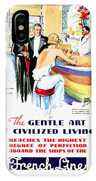 French Line - Bits Of France Afloat - Vintage Poster Restored IPhone Case