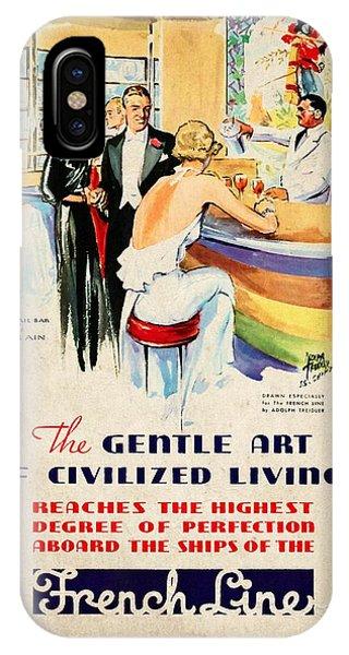 French Line - Bits Of France Afloat - Vintage Poster Vintagelized IPhone Case