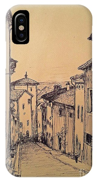 French Little Town Drawing IPhone Case